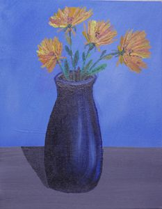 Blue Vase on Table - 8 x 10