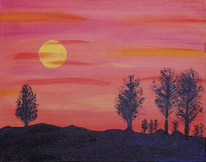 Sunset Landscape with Trees