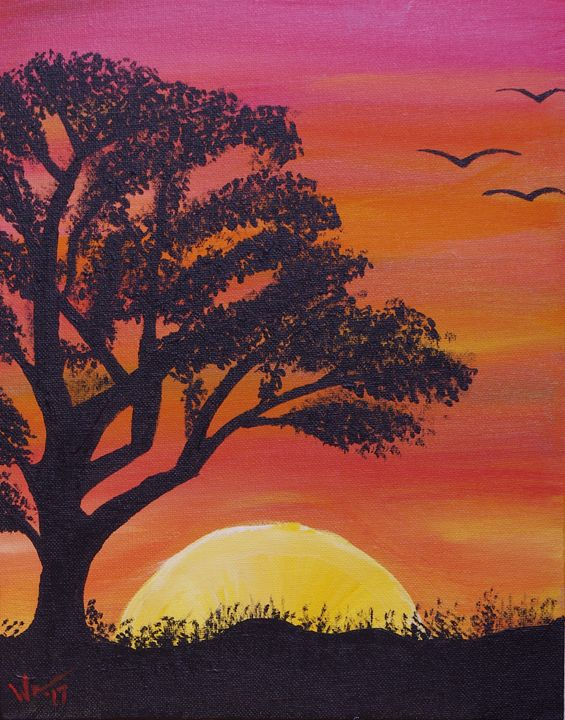 Sunset with Tree and Birds - 11 x 14 - Sean Williams' Photography