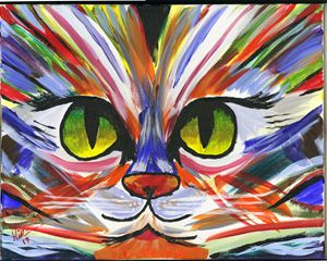Psychedelic Cat - 16 x 20