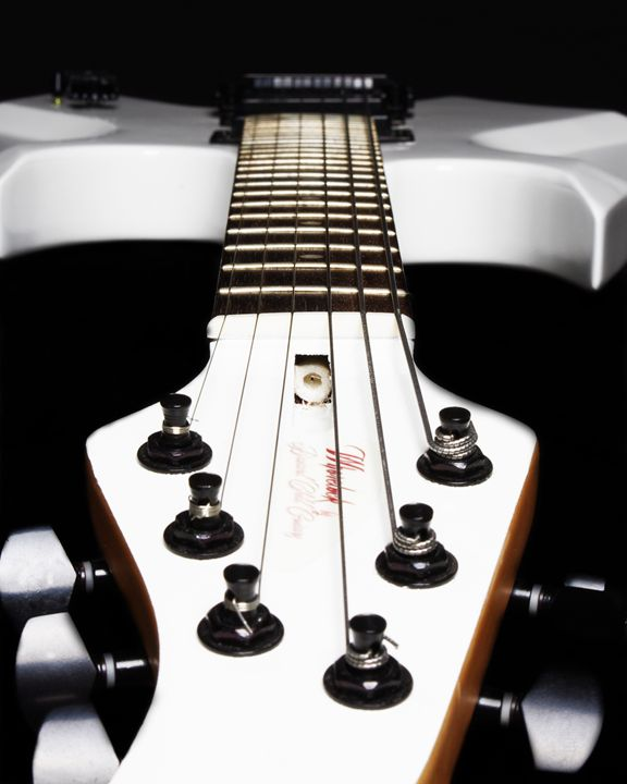 White Electric Guitar - Headstock - Sean Williams' Photography