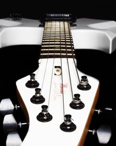 White Electric Guitar - Headstock