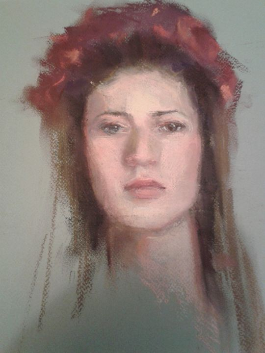 A woman with red flowers crown - Roniyana