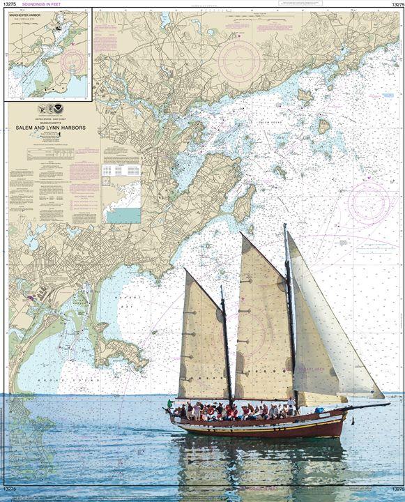 Salem and Lynn Harbors - ChartArt