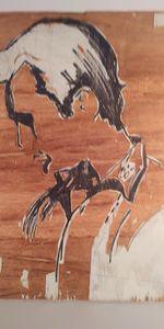 Woodcut block of Jack Kerouac - McInerney Artist,  ( Bill McInerney)