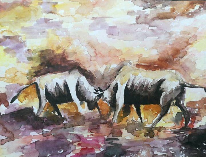 Bull fight painting - Akshay arts
