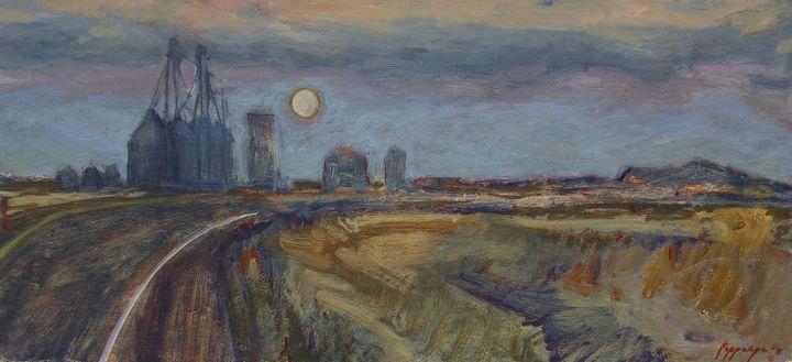 Early Moon rise over Grain Elevators - Poppenga