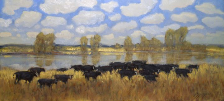 """Cows, Clouds, Sunshine"" - Poppenga"