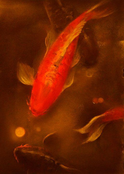 Red koi & gold coin - Art12