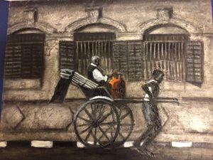 Rickshaw in Calcutta bylane