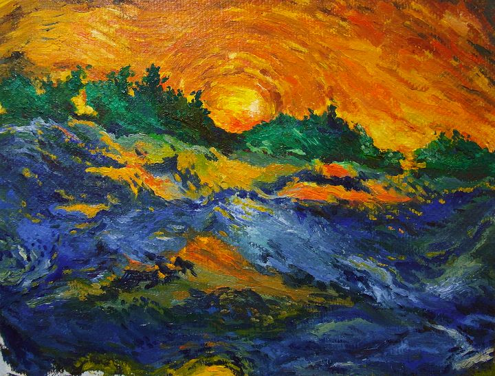 The fiery sky in Winter - Gabriela's art collections