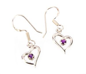 Sterling Silver Amethyst Heart Earri - Midas Craft