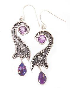 Purple Copper Turquoise Earrings - Midas Craft