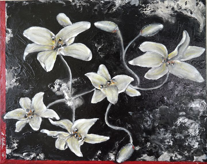 Ghostly Lilies Flipped - Timeless Art On Canvas