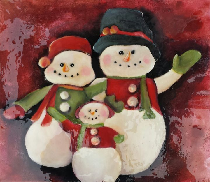 Snowman Family - Timeless Art On Canvas