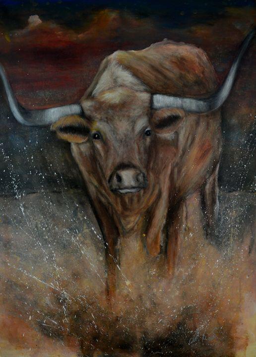 The Texas Longhorn Bull - Timeless Art On Canvas