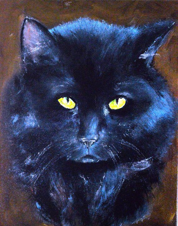 Portrait of a Black Cat - Timeless Art On Canvas