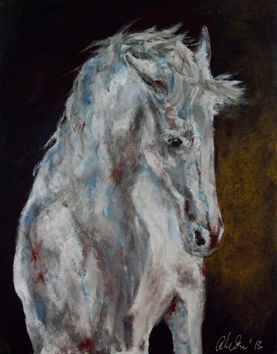 White Blue Horse - Timeless Art On Canvas