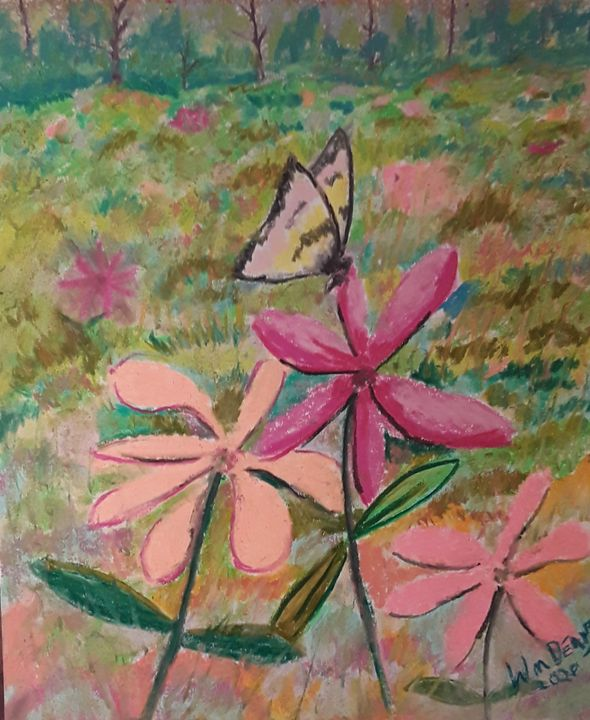 Butterfly on some zinnias - William dean