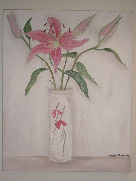 LILLIES IN A VASE - MaggieJukesArt