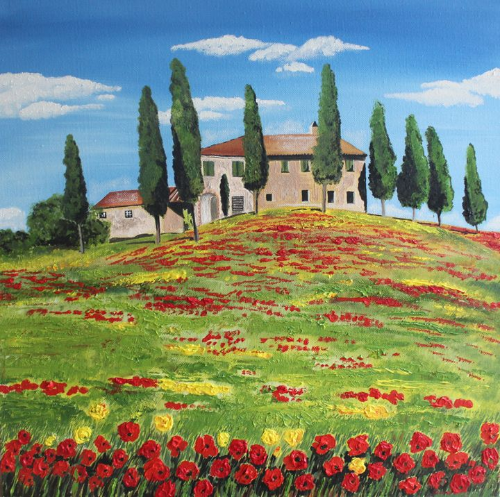 FLOWERS IN A TUSCAN FIELD - MaggieJukesArt