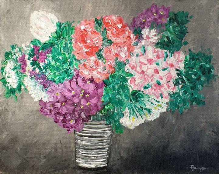 A vase full of the outdoors - Paintings by Fatima YG