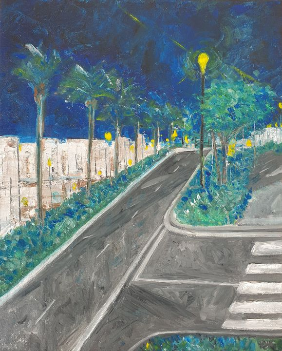Dubai walk, palm trees and lights - Paintings by Fatima Yahaya - Gani