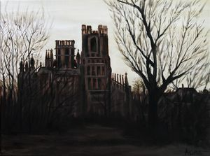Ely Cathedral Gothic in Burnt Umber - Andy Carruth Art