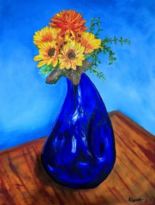 Sunflowers in the Blue vase