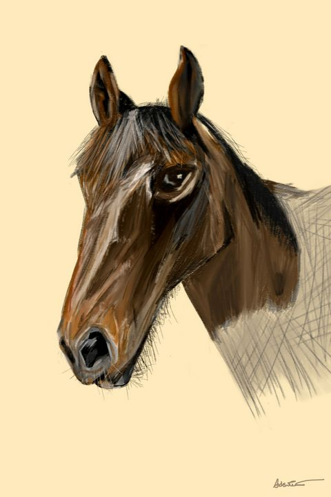 Portrait of a female Horse 'Maggie' - Andy Carruth Art