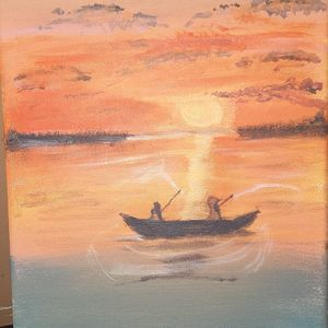 Fishing under the sunset