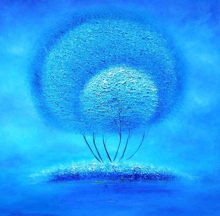 Abstract Blue Tree, Textured acrylic - Impasto Tela