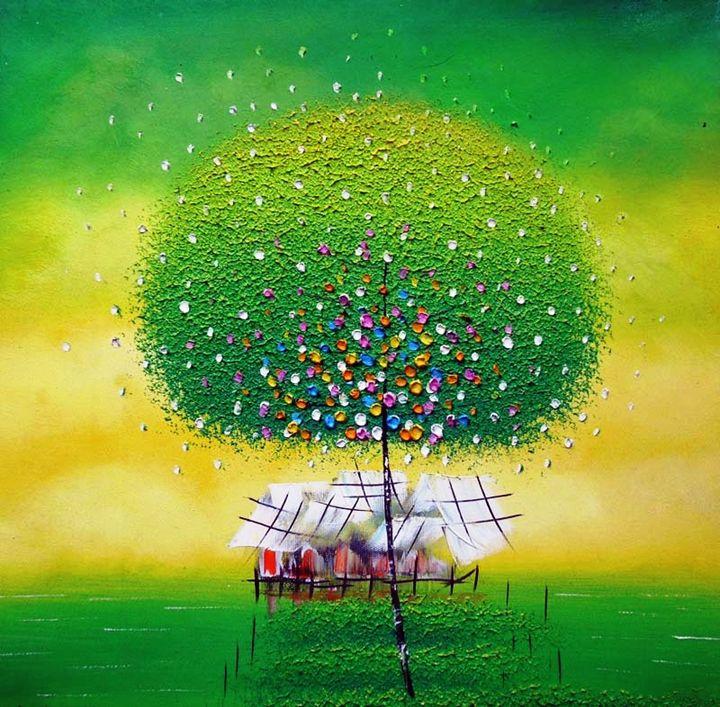 Green Oriental abstract tree - Impasto Tela
