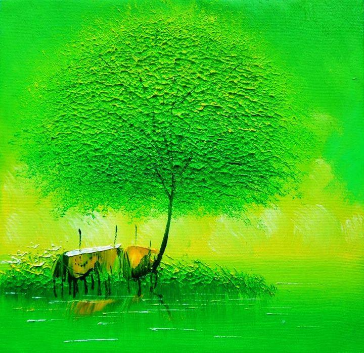 Green Abstract tree - Impasto Tela