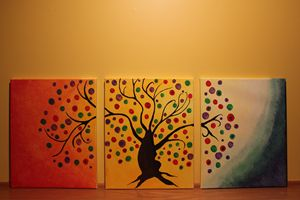 Abstract bohemian tree - tri canvas
