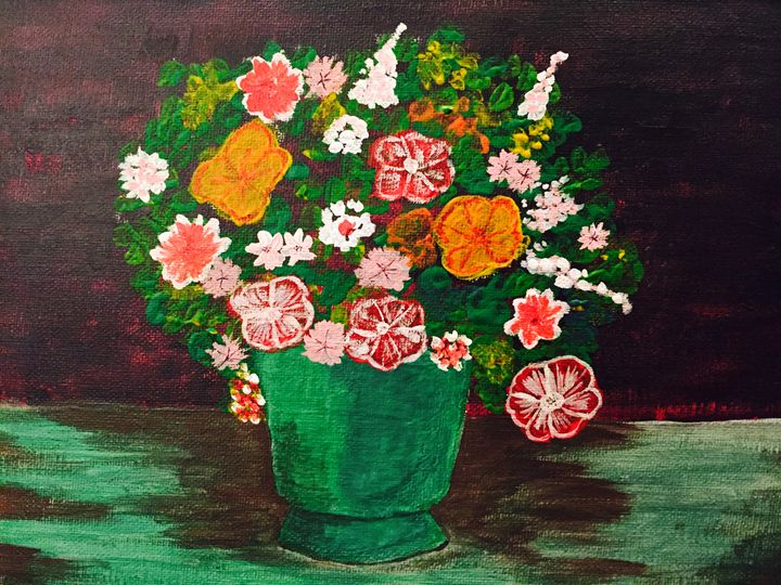 Canvas Painting of Pot with Flowers - Mukherjee Art Studios