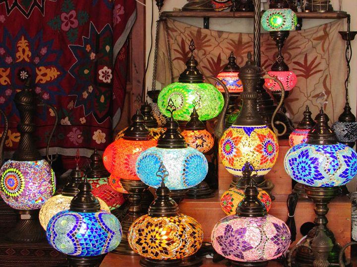 Oriental Mosaiac Mirror Lamps - greece on canvas