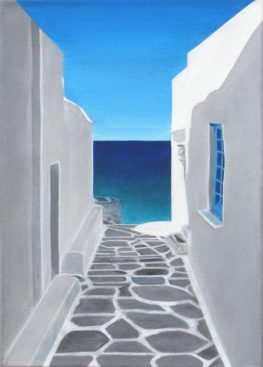Greek Island Lane - greece on canvas