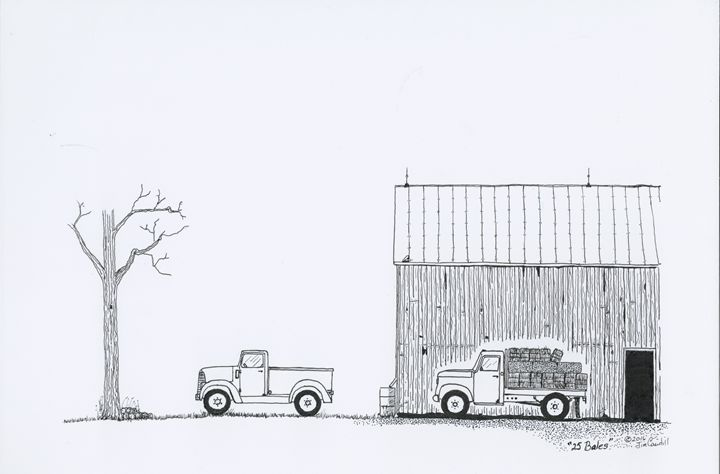 """25 Bales"" - Pen & Ink Artist, Jim Caudill"
