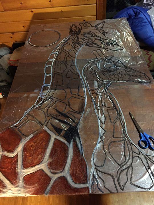 Giraffe Original Sketch - Darkhorse Farms Art Studio