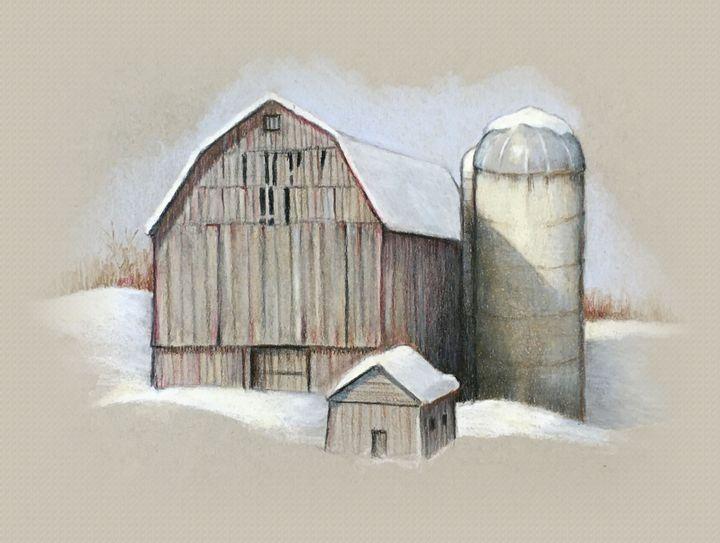 Barn and Silo in Winter - Joyce's Art