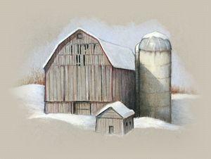 Barn and Silo in Winter