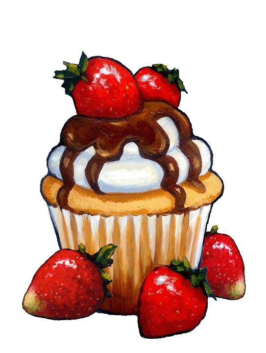Cupcake with Strawberries - Joyce's Art