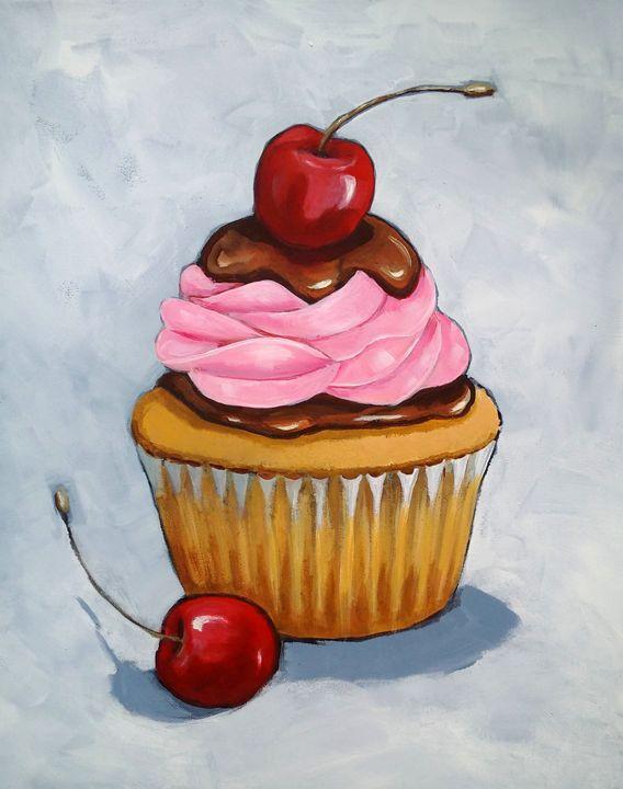 Cupcake, Pink Icing, Cherries - Joyce's Art
