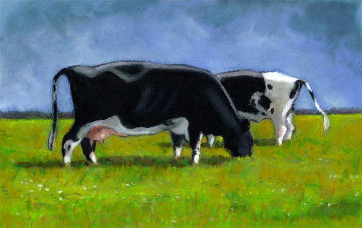 Holstein Cows Grazing, Oil Pastel - Joyce's Art