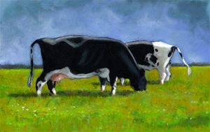 Holstein Cows Grazing, Oil Pastel