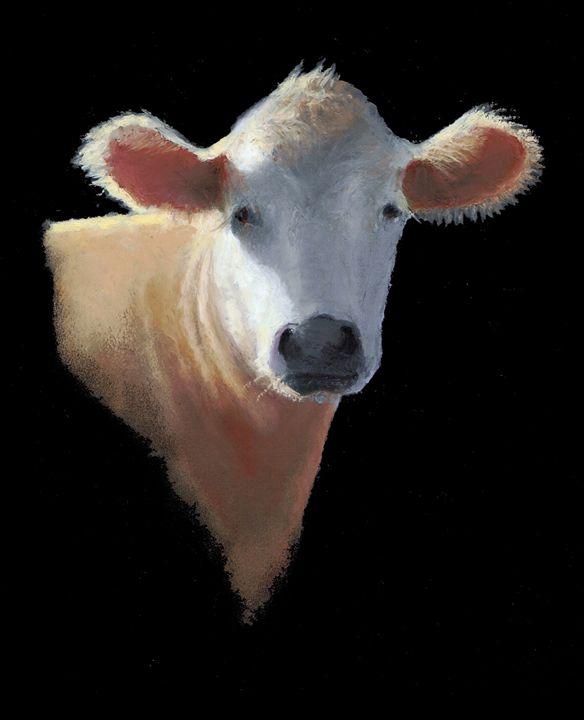 Cow in Sunshine, Oil Pastel - Joyce's Art