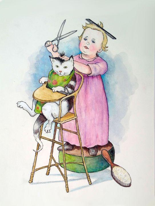 The Little Hairdresser with Cat - Joyce's Art