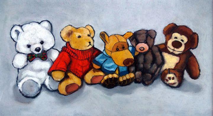 Row of Stuffed Toys, Bears, Pastel - Joyce's Art