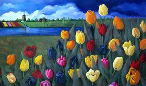 Tulips in Holland, Flower Art
